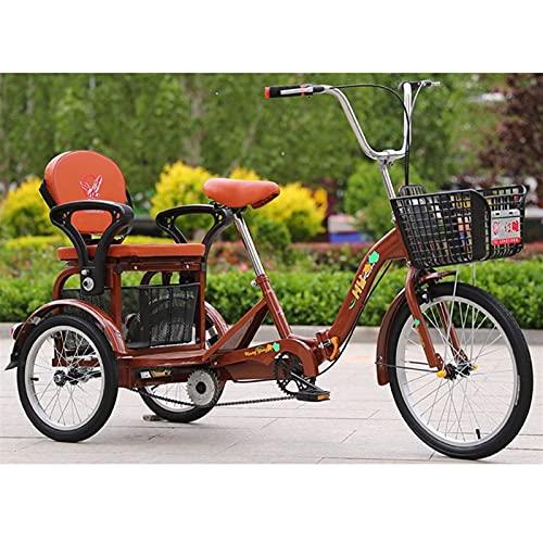 SN Plegable Triciclo De 3 Ruedas para Adultos 20 Pulgadas Bicicletas De Tres Ruedas con Asiento Trasero Cesta Compra Van Los Carros para Picnics Bici Pedales Ciudad Calle (Color : Brown)