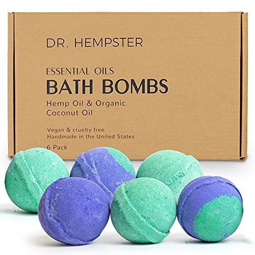 Natural Bath Bomb Gift Set - Hemp Bath Bombs with Organic Coconut Oil, Shea Butter, Refreshing Eucalyptus and Relaxing Lavender for Men and Women - Handmade in USA - 6 Pack