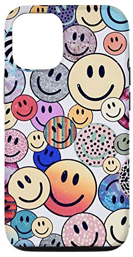 iPhone 12/12 Pro Trippy Psychedelic Smiley Face Emoji Pattern Colorful Phone Case