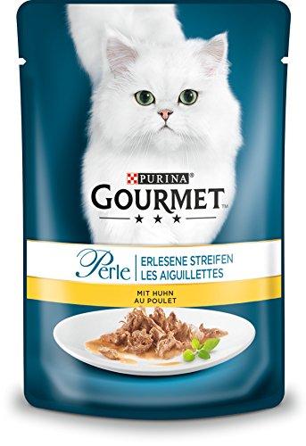 PURINA GOURMET Perle Erlesene Streifen Katzenfutter nass, mit Huhn, 24er Pack (24 x 85g)