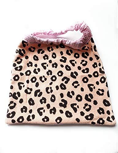 """Serviette de table enfant""""pattes léopard"""", serviete de cantine, grand bavoir élastiqué, tissu éponge certifié OEKO-TEX"""
