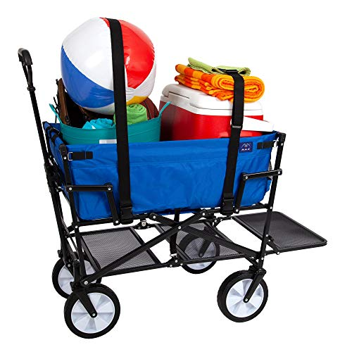 MacSports Double Decker Collapsible Outdoor Utility Wagon with Straps | Folding Pull Cart for Sports Baseball Pool Camping Fishing, Collapsable Fold up Wagon w/Wheels, Heavy Duty Steel, Royal Blue