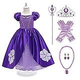 AISHANGYIDE Vestido de Princesa Sofia Niñas Disfraces de Princesa Rapunzel Vestidos de Princesa para Tul Cumpleaños Vestido de Fiesta Halloween Cosplay Carnaval Disfraz