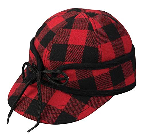 Broner Mens Ole  Railways Work Cap with Quilted Lining and Inside Earflaps, Buffalo Plaid, L XL