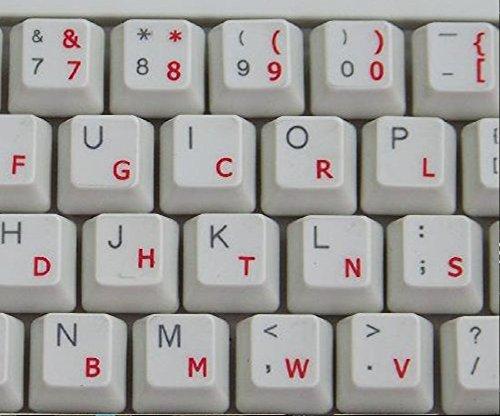 Qwerty Keys Pegatinas Teclado Dvorak Transparentes con Letras Rojas - Apto para Cualquier Teclado