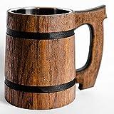 oak beer mug - Old Style Viking Beer Mug Wooden Handmade Retro Brown Cup, Oak Beer Tankard - Wood Carving Beer Mug of Wood Eco Friendly Beer Mug for Men, Wooden Beer Tankard