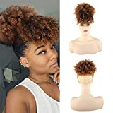 AISAIDE High Afro Puff Drawstring Ponytail Bun with Bangs for Black Women Short Afro Kinky Curly Ponytail Extension Clip in Hair Extensions Pineapple Synthetic Brown Ponytail with Two Clips(1B/30)
