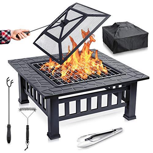 FUNKENFLUG® Feuerschale mit Funkenschutz & Grillrost - für wohlige Wärme & wundervoll gesellige Abende an der Feuerstelle - ideale 2in1 Grill Feuerschalen für den Garten Feuerschale mit Grillrost