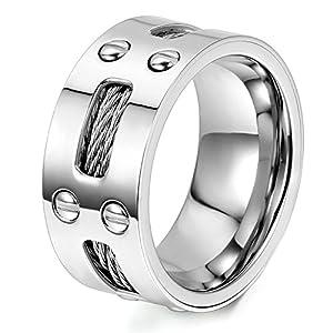 OIDEA Herren Edelstahl Ring drehen Silber, 9mm Polished Verlobungsringe Trauringe, Größe 54 (17.2) bis 74 (23.6) (71 (22.6)) (62 (19.7)) (65 (20.7))
