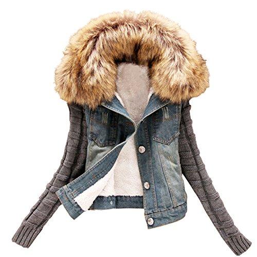 Minetom Damen Mädchen Winter Dick Kurz Jeansjacke Jeansmantel mit Kapuzen Blau DE 44