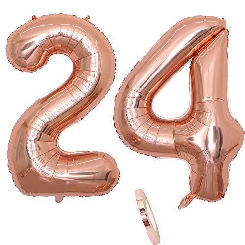 """2 Globos Número 24, Number 24 Globo Chica de oro rosa, 40"""" Figuras de globos con globo de lámina de helio inflable, Globo gigante para la decoración de la fiesta de cumpleaños, Prom (xxxl 100 cm)"""