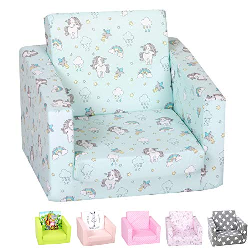 DELSIT Toddler Chair & Kids Sofa - European Made Children's 2 in 1 Flip Open Foam Single Sofa, Toddler Fold Out Chair, Kids Couch, Comfy Flip Out Lounge (Unicorns and Rainbows Mint)
