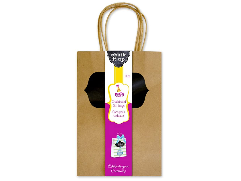 Party Craft PC402B Chalk-It-Up Gift/Treat Bags, Kraft,