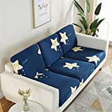 Fundas de cojín de asiento de sofá, fundas de cojín de reemplazo, fundas de cojín flexibles elásticas para cojines individuales (4 plazas, estrellas azules)