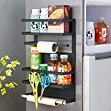 CarolynDesign Magnetic Spice Storage Rack on Fridge, Stainless Steel Magnetic Paper Towel Holder on Refrigerator with Hooks, Matte Black, Large, H18.1 x L12.6 x H4.53''