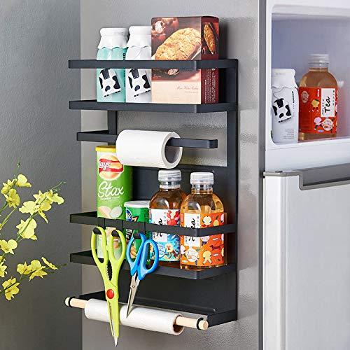 CarolynDesign Soporte magnético para toallas de papel en nevera, estante magnético inoxidable para especias en refrigerador con ganchos, negro mate, estante de almacenamiento lateral para nevera, 18.1 x 12.6 x 4.53 pulgadas
