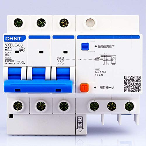 CHNT CHINT NXBLE-63 3P 6A 10A 16A 20A 25A 32A 40A 50A 63A Disyuntores pequeños de fuga a tierra con protección contra fugas RCBO-3P_32A