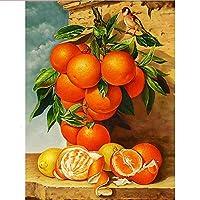 ダイヤモンドペインティング DIY 5D テーブルの上のオレンジ 5D ダイアモンドカラーストーン 刺繍キット クロスステッチ刺繍キット DIY・手作り絵画手芸キット 30x40cm