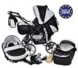 Kamil, Classic 3-in-1 Travel System with 4 STATIC (FIXED) WHEELS incl. Baby Pram, Car Seat, Pushchair & Accessories (3-in-1 Travel System, Black & Black Polka Dots)