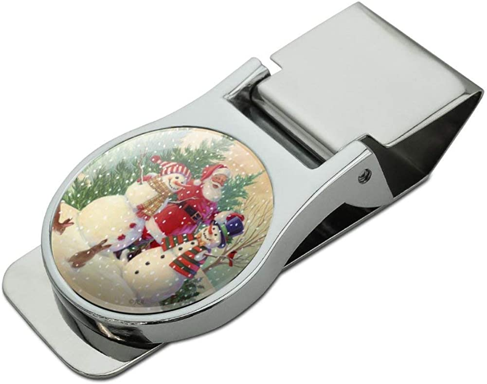 Christmas Holiday Santa Snowman Friends Satin Chrome Plated Metal Money Clip