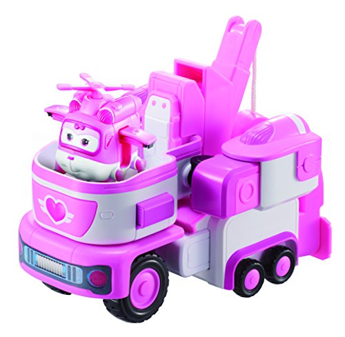 Super Wings - 7' Dizzy's Rescue Tow | Transforming Toy Vehicle Set | With 2' Scale Pink Transform-a-bot | Fun Preschool Airplane Toys for 3 4 5 year old Boys and Girls | Birthday Gift for Pretend Play