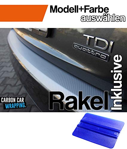 CCW - Ladekantenschutz + Profi-Rakel kompatibel für den VW Golf Sportsvan in 3D Carbon Silber - passgenaue Lackschutzfolie,Schutzfolie, Steinschlagschutz