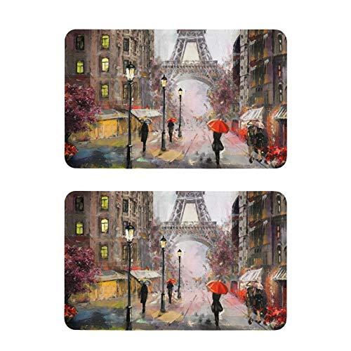 Mnsruu Pintura al óleo Calle París Torre Eiffel Acuarela Refrigerador Imanes 2 Piezas Decorativos Nevera Pizarra blanca Cocina Oficina Imanes