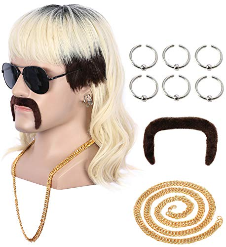 Yuehong Short Black Roots Blonde Rock Star Style Wig Halloween Cosplay Wig Mullet Fashion Wig Heat Resistant Wigs