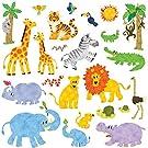 DECOWALL DW-1513N ジャングルの動物 ウォール ステッカー デコ 幼稚園 保育園 子供部屋 DIY 用 壁転写 シール ウォールアート シール 男の子 女の子 12代 こども バスルーム デコレーション ビニール 寝室用 ティーン キッズ