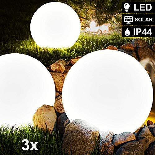 3er Set LED Solar Kugel Erdspieß Lampen Terrassen Garten Außen Steck Leuchten