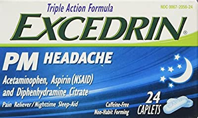 One bottle of 24 caplets of Excedrin PM Sleep Aid with Headache Relief Caplets for Nighttime Headaches and Sleeplessness Provides fast and effective night time pain relief to help you fall asleep Treats occasional headaches and minor aches and pains ...