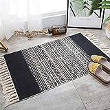 La alfombra Borla de algodón y lino natural tejida a mano Alfombra / sala de...