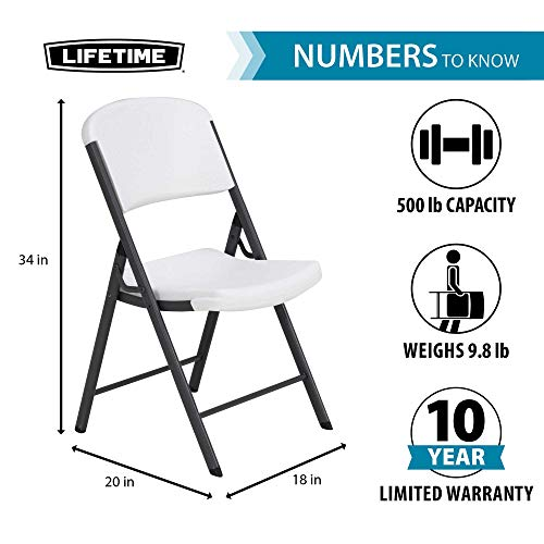LIFETIME Commercial Grade Folding Chair, 4 Pack, White Granite