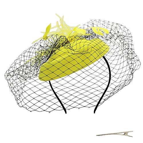 Umeepar Damen Pillbox Fascinator Hut Hochzeit Tea Party Hüte mit Federn Schleier Stirnband Clip (Gelb)
