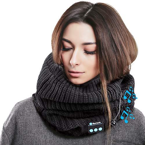 Zwini Bluetooth scarf draadloze hoofdtelefoon verdikt gebreide headset sjaal sjaal ingebouwde stereo-luidspreker USB oplaadbaar voor skiën snowboard wandelen winter outdoor sport