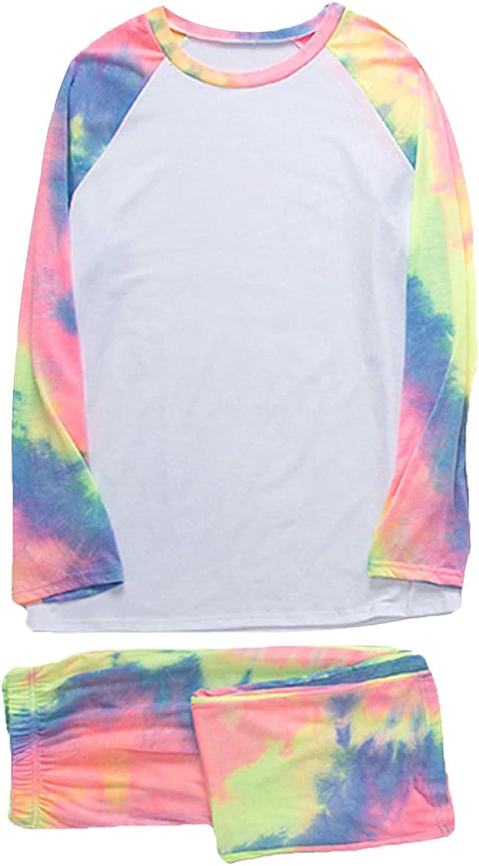 Fashion Casual Tie Dye Family Pajamas Set Long Sleeve Sweatshirt with Elastic Long Pants Sleepwear