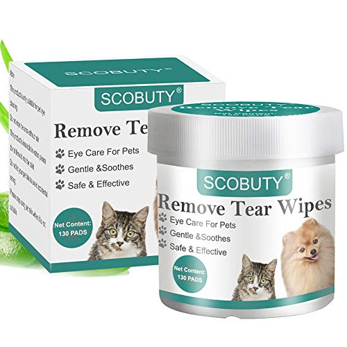 SCOBUTY Pet Eye WipesPet Tear WipesPet WipesEye Tear Stain Remover Wipes for PetsNatural Tear Eye Stain Remover PadsCleansing Eye WipesPet Soft Grooming Wipes