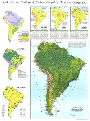 Reproduktion eines Poster Präsentation–Südamerika–physische Karte (1972)–61x 81,3cm Poster Prints Online kaufen