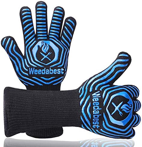 SUMPRO Hot BBQ Gloves Heat Resistant Kitchen Oven Mitts Professional Long Heat Resistant Cooking product image