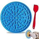Charfia Leckmatte für Hunde, Hund Lecken Pad Lick Pad Lick Mat Slow Feeder mit Spatel für Hunde und Katzen, Pflege Pad zum Baden hundetraining, Super Starke Saugkraft (Blue)