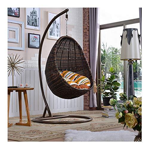 LEJZH Hanging Rattan Swing Chair, Egg Basket Chair Including Cushions,Outdoor&Indoor Garden Patio Furniture,Brown