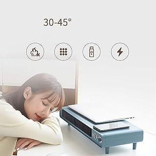 FFEENG Mini Calefactor Cerámico Calentador de Espacio Eléctrico Portátil Personal, Carga inalámbrica Inteligente, 3 Modos de contra Viento, para Cuarto/Baño/Oficina,Azul