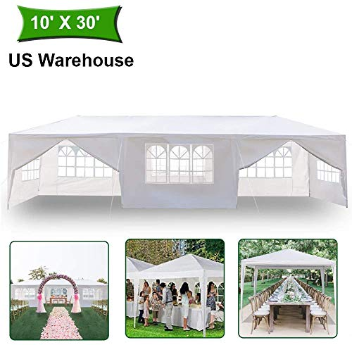 Heavy Duty Canopy Event Tent-10'x10' Outdoor White Gazebo Party Wedding Tent, Sturdy Steel Frame Shelter w/8 Removable Sidewalls Waterproof Sun Snow Rain Shelter Tent (10 'x10' with 5 sidewalls)