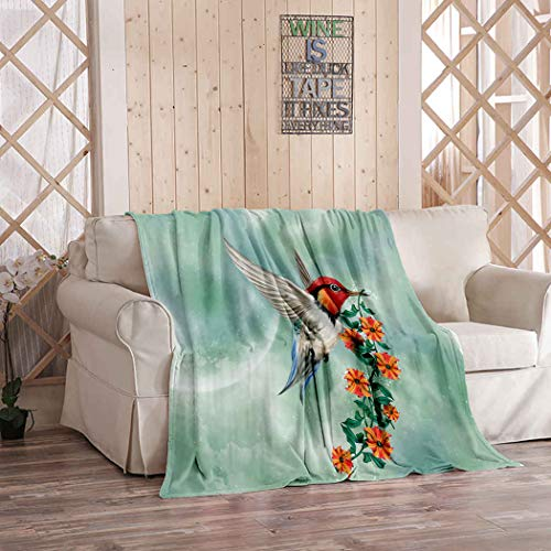 Kuidf Flower Throw Blanket Fantastic Hummingbird Flying in The Sky Flowers Peak Flannel Bedding Blankets Luxury Oversized for Couch Bed or Sofa 50x60 Inches