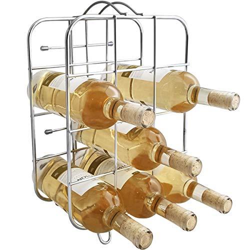 Suporte Adega Porta 12 Garrafas Vinho Chão Bancada Cromada