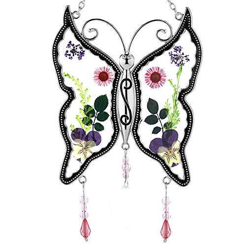 Precious Mom Friend Aunt... New Butterfly Suncatchers Glass Mother Wind Chime with Pressed Flower Wings Embedded in Glass with Metal Trim Mom Heart Charm - Gifts for Mom -Mom for Birthdays (DIY (O))