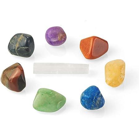 Terra Beyond Kit de Piedras Curativas de Chakras Naturales - Juego de Curación de 1 Cristal de Selenita y 7 Piedras Caídas para Meditación, Equilibrio de Chakras y Terapia con Cristales | Juego de 8