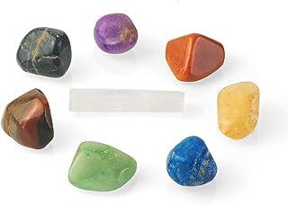 Coffret de pierres naturelles pour la guérison des chakras | Coffret de guérison composé de 1 cristal sélénite et de 7 pie...