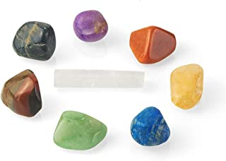 Coffret de pierres naturelles pour la guérison des chakras - Coffret de guérison composé de 1 cristal sélénite et de 7 pie...