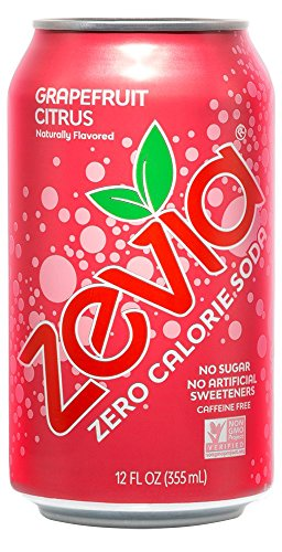 Zevia Zero Calorie Soda, Grapefruit Citrus, Naturally Sweetened Soda, (24) 12 Ounce Cans; Grapefruit Citrus-flavored Carbonated Soda; Full of Delicious Flavor and Natural Sweetness with